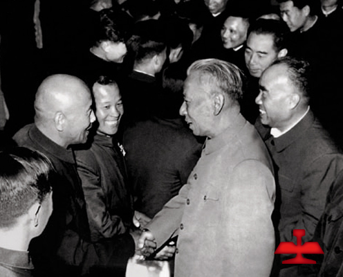 In 1959, Comrade Liu Shaoqi and Zhu De met Meng Tai, the famous model worker in China and old hero of Ansteel